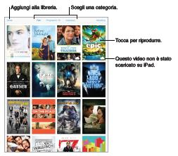 Panoramica di Video Aprire l'app Video per guardare film, programmi TV e video musicali. Per guardare podcast video, installare l'app gratuita Podcast da App Store.