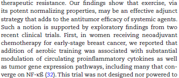 odulation of Circulating Angiogenic Factors and Tumor Biology by Aerobic Training in Breast Cancer Patients Receiving Neoadjuvant Chemotherapy Aerobic exercise training (AET) is an effective adjunct