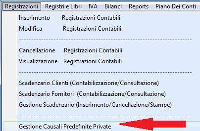 3.2 Gestione causali predefinite private Le causali predefinite consentono all'operatore di preimpostare le schede di registrazione contabile.