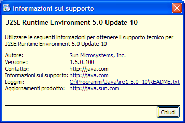 IUCLID 5 requisiti software Java Runtime Environment (versione 1.