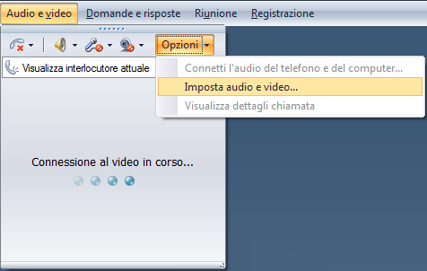 3 - Attivazione dell audio-video Per connettersi all'audio del computer 1. Accedere al ricevimento mediante le procedure descritte in precedenza. 2.