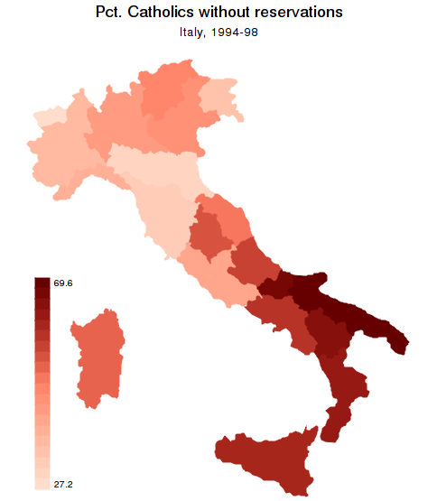 "A.14. Graph options A. spmap: Visualization of spatial data spmap relig1 using ""Italy-RegionsCoordinates.dta"", id(id) clnumber(20) fcolor(reds2) ocolor(none."