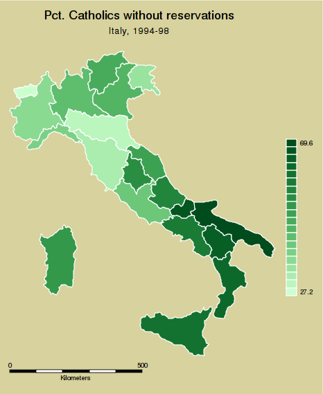 "A.14. Graph options A. spmap: Visualization of spatial data spmap relig1 using ""Italy-RegionsCoordinates.dta"", id(id) clnumber(20) fcolor(greens2) ocolor(white..) osize(medthin..) title(""pct."