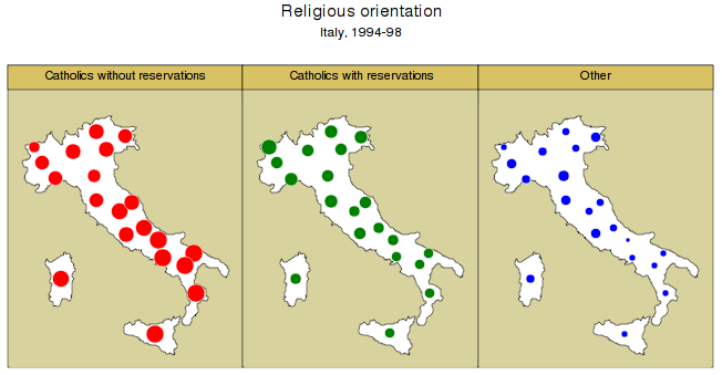 "A. spmap: Visualization of spatial data A.14. Graph options spmap using ""Italy-OutlineCoordinates.dta"", id(id) fcolor(white) title(""catholics without reservations"", size(*0."