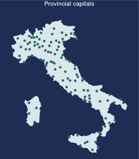 "A.14. Graph options A. spmap: Visualization of spatial data spmap using ""Italy-OutlineCoordinates.dta"", id(id) fc(bluishgray) ocolor(none) title(""provincial capitals"" "" "", size(*0."