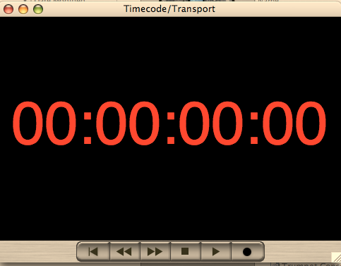 2 Utilizzo del software : Finestra Timecode/Transport Finestra Timecode/Transport Utilizzare lavoce di menu Window -> Timecode/Transport per visualizzare i controlli del timecode.