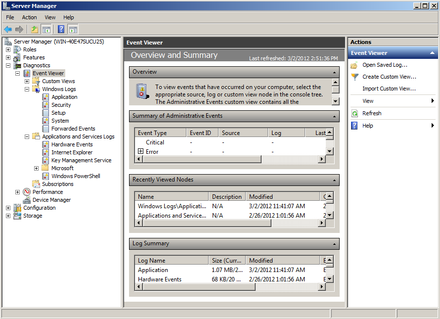 Event Viewer L Event Viewer è accessibile da «Server Manager» o