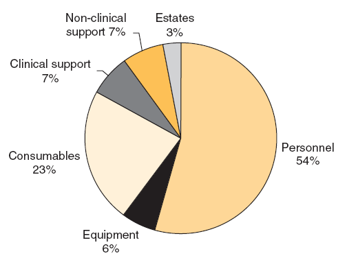 Proportion of different cost blocks within the total cost of Intensive