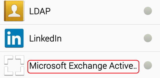 Sotto Account e Backup, selezionare la voce Account : Figura 2: Account Selezionare Aggiungi Account : Figura 3: Aggiungi Account Selezionare Microsoft Exchange ActiveSync : Figura 4: Exchange