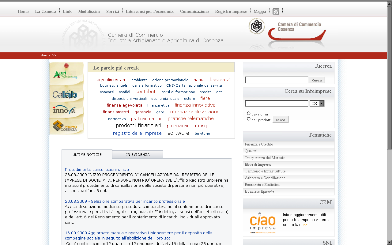Information & Communication Management System 2.0 per la PA 109 Figura 5: Il portale http://www.cs.camcom.it.