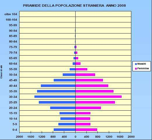 We analyzed data and trends on economy and population, we had meetings, workshops and so on, Incidenza popolazione straniera - Stima al 2020 Piramide per