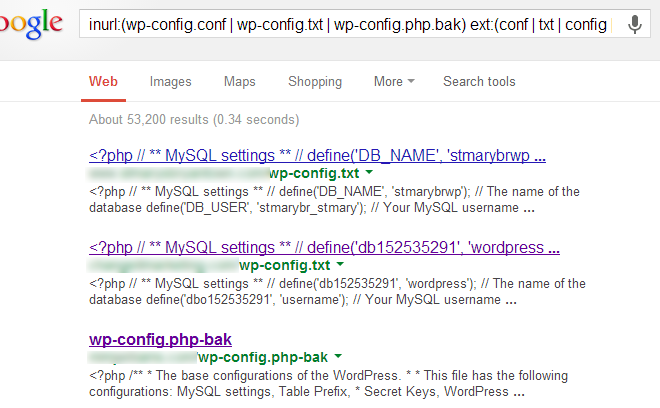 Google Dork per le masse Query: inurl:(wp-config.conf wp-config.