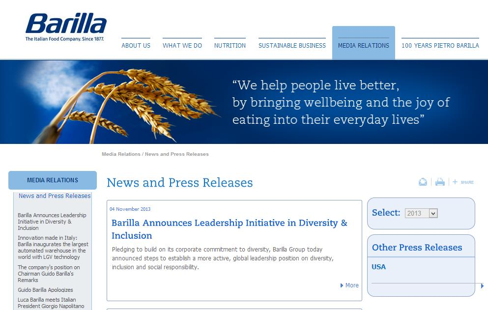 Barilla s press releases on diversity and On September 25 th, 2013 Guido Barilla, Barilla s President, affirmed during