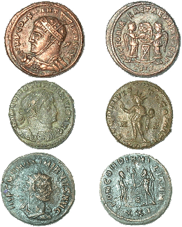 Figure 3. A selection of excavated coin finds from Yotvata, Israel. A.) follis of Constantine the Great, RIC VII (Siscia) 55; B.) follis of Constantine the Great, RIC VII (Lugdunum) 53; C.