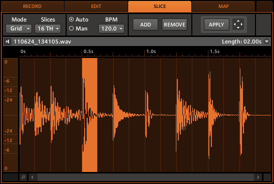 Sampling Slicing di un Sample Software 1. Clicca sulla SLICE tab. 2.