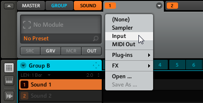 L'Input Module e l'adavanced Routing Configurare un Send Effect Software 1. Seleziona il primo Sound Slot di un Group vuoto.