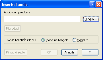 Audio : Consente di inserire file audio in formato mp3.