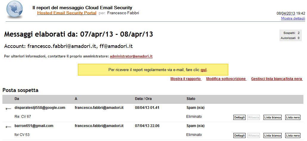 Mail Security Websense Cloud Email Security FUNZIONALITA DIFFERENZIANTI BC sulle linee