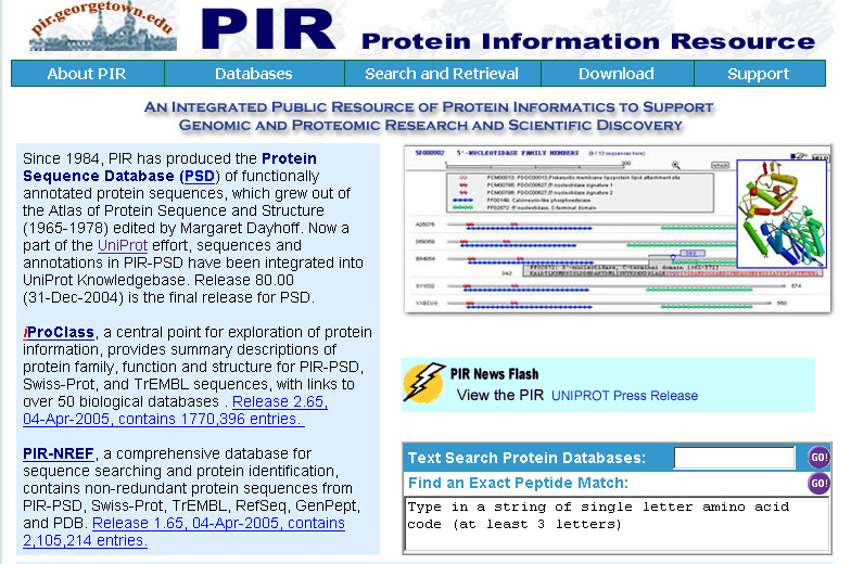 PIR (Protein Information Resource) http://pir.georgetown.