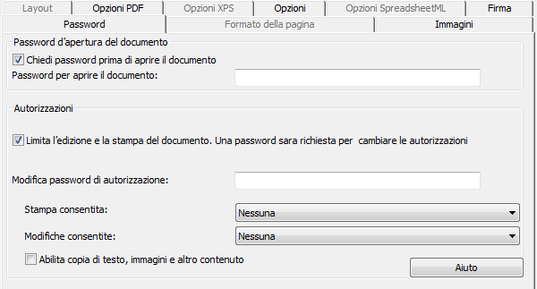 Sezione 9: Salvataggio di documenti Quando si imposta una password d apertura del documento, vi verrà chiesto di inserire la password all'apertura del file PDF di output.