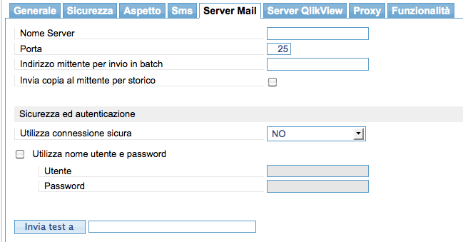 Server Mail: Nome Server: permette di specificare il nome/ip del server mail Porta: porta di ascolto del server mail.