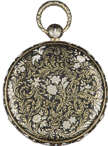 Circa 1840 Diam. mm 40 A 18K GOLD AND BLACK ENAMEL POCKET WATCH BY GOUNOUILHOU & FRANÇOIS, SWITZERLAND, CIRCA 1840 Stima 150-300 471.