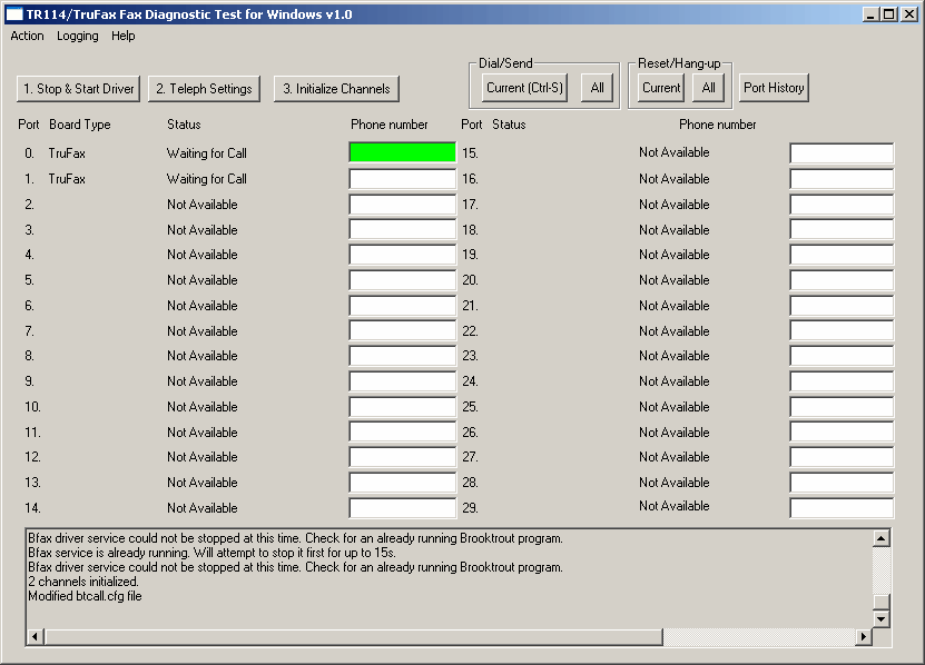 Schermata 8: Software di diagnostica Brooktrout 1.4 Installazione di Brooktrout SR140 (FoIP) Brooktrout SR140 è una soluzione software Fax over IP (FoIP) di Dialogic Technology.