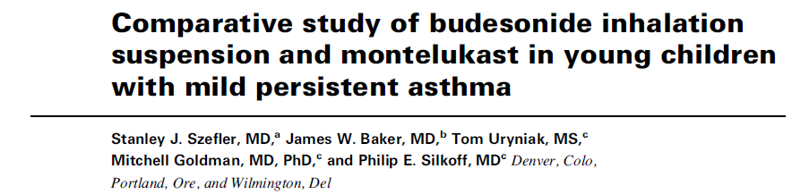 Età 2-8 aa BUD 0,5/die Versus MLT 4 o 5 mg/die per 52 settimane Both treatments provided acceptable asthma control;