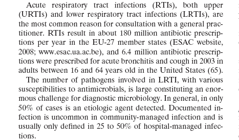 The number of pathogens involved in LRTI Is LARGE
