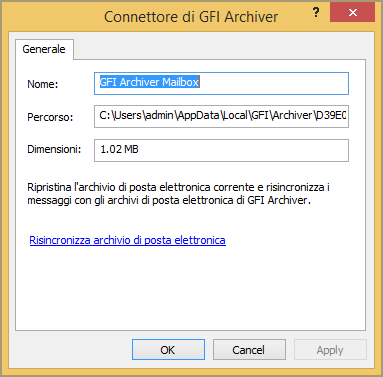 4.3 Impostazioni del database Outlook Connector archivia i seguenti dati in un database locale: Le intestazioni dei messaggi di tutti i messaggi all interno degli archivi della posta di GFI Archiver