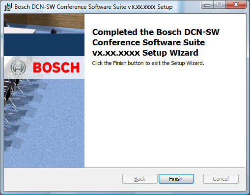 Suite del software per conferenze Bosch Come installare il software it 87 Viene creato il database.