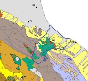 4. APPLICATION OF THE PRELIMINARY GEOLOGICAL LEGEND AT MARECCHIA-CONCA BASIN Hydrographic basin that includes portions of territory of Emilia