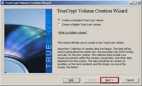 The TrueCrypt Volume Creation Wizard window should appear. Read the instructions displayed in the Wizard window and click Next.