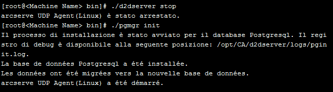 Backup di nodi Linux Gestione del server di database Il server di backup e il server di database sono stati avviati correttamente.