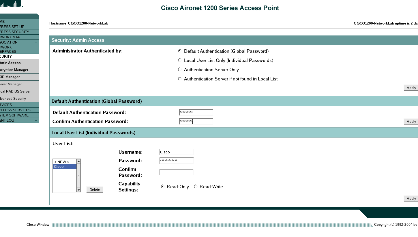 AP 1200: Password Administrator Si