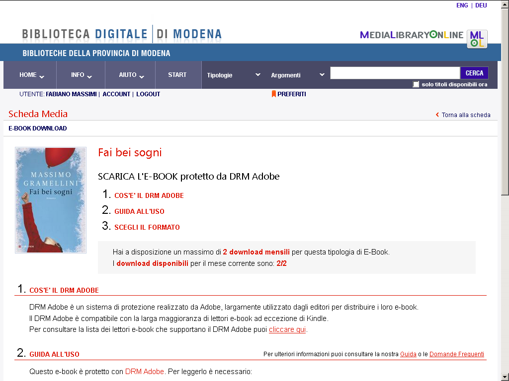 Comparirà la pagina di download Per completare il download occorre un ID Adobe e il programma Adobe Digital Editions.