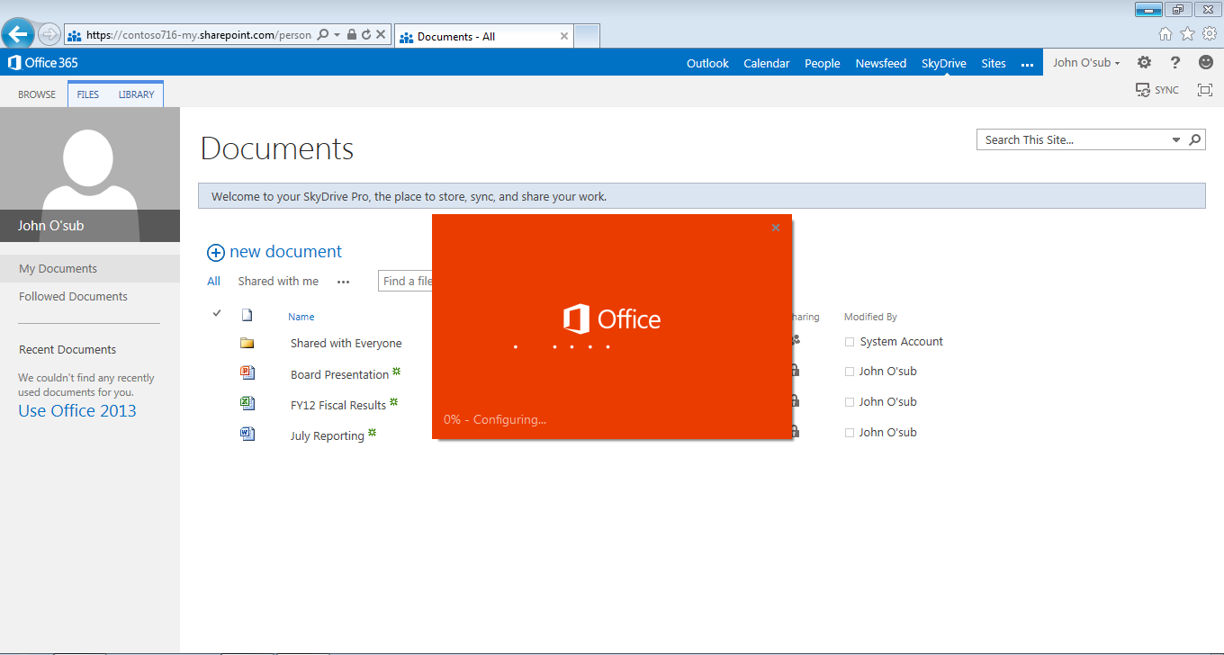 Accedere a Office 365 da qualsiasi browser e per visualizzare l email, il calendario, i contatti, i newsfeeds, siti & documenti Lightweight