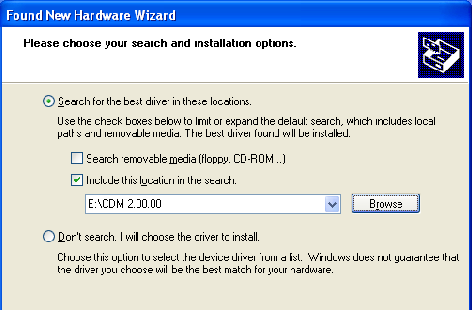 Windows 2000/XP 1) Select the option Install from a list or specific location and press Next button.