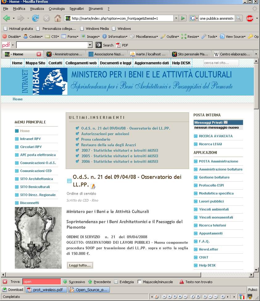 INTRANET Architettonica: TRE COLONNE; (formato editoriale) MENU ALTO; LOGO E DATI ENTE;
