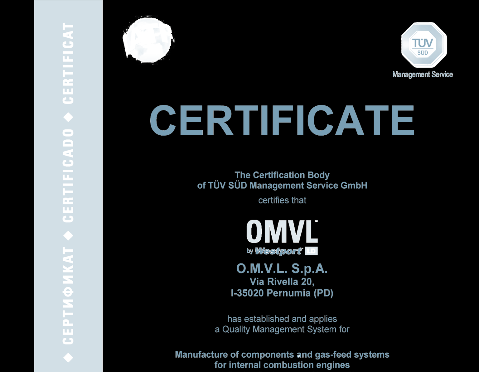 OMVL Quality OMVL product quality has always been a starting point rather than a goal to pursue, as witnessed by: