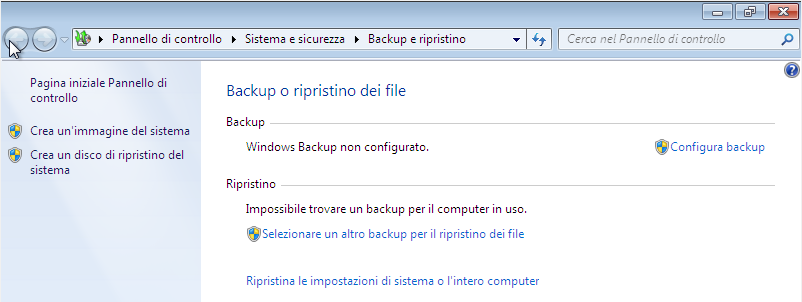 Come avviare la procedura di ripristino da Windows.