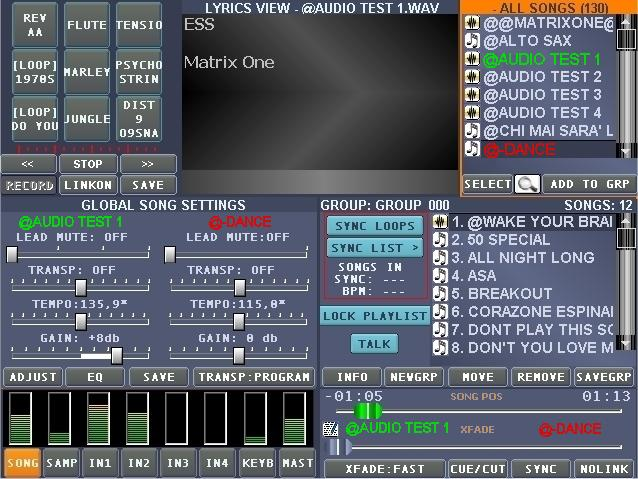 Pannello Frontale 12 11 1 2 3 4 5 6 7 8 9 10 1) Volume player MIDI ed Audio. 2) Volume riproduzione Samples. 3) Volumi indipendenti dei 4 ingressi audio. 4) Volume tastiera collegata via MIDI.
