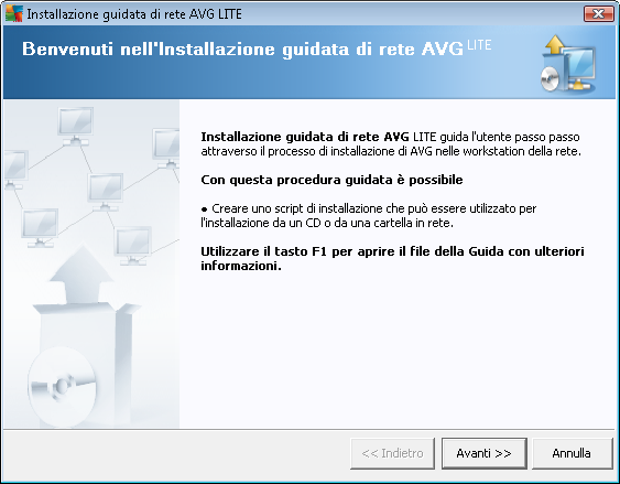 8.2. Procedura guidata di AVG Network Installer Lite La Procedura guidata di AVG Network Installer Lite