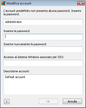 Immettere il nome account e la password (due volte per verifica).