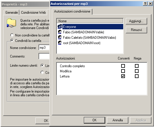 Montare cartelle condivise di Windows con