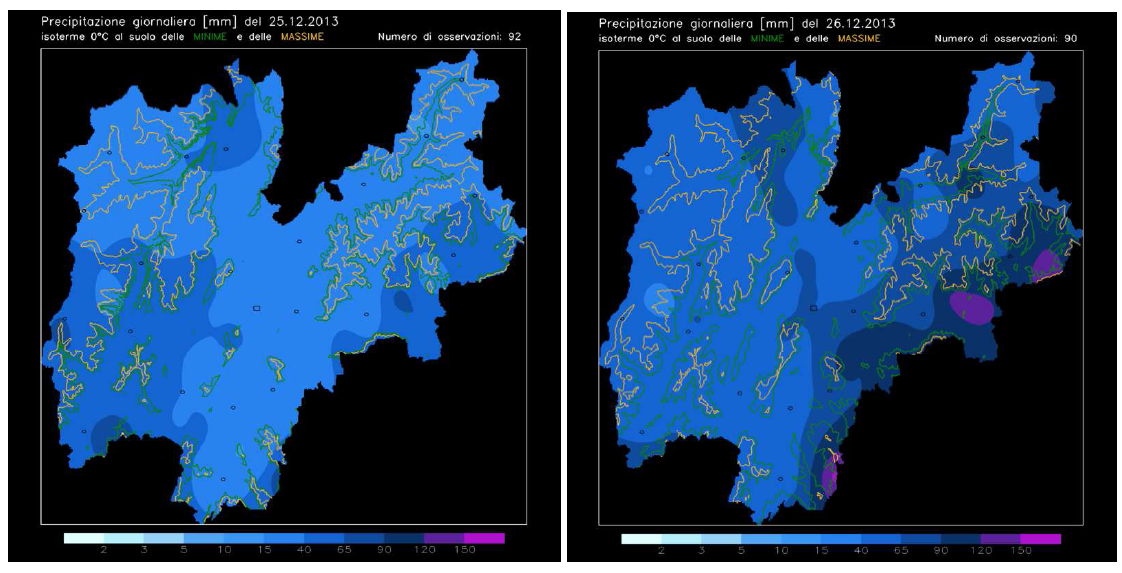CMCC Research Papers 06 Figure 6: Daily precipitation values (mm/day) between 00:01 of the 26th of December 2013 and the 00:00 of the 27th over the Veneto region. Available at http://www.arpa.veneto.