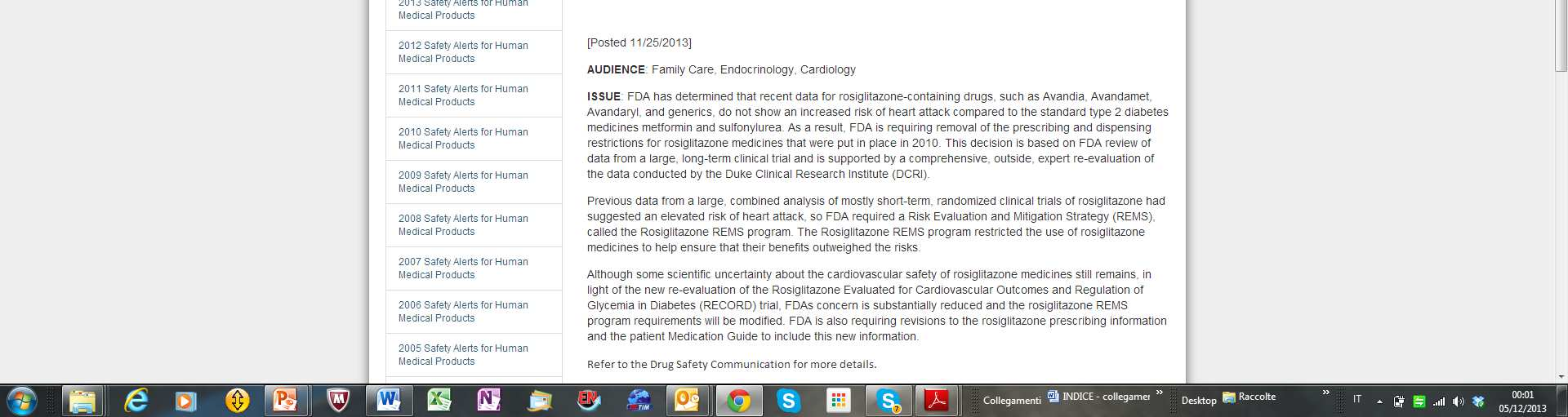 Rosiglitazone 2013 11/25/2013 -Drug Safety Communication-FDA]