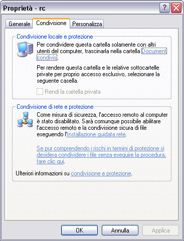standard di Windows XP prevede