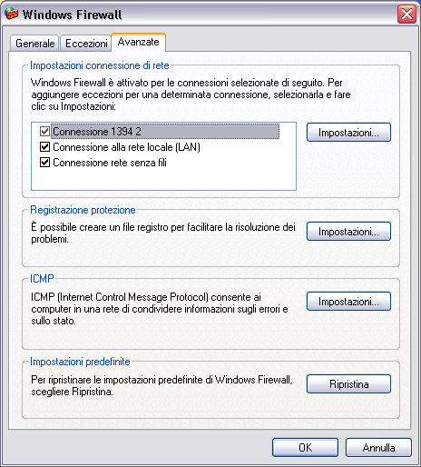 Il firewall di Windows XP, il log del