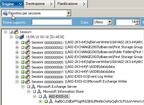 Microsoft Exchange Writer Ripristino di backup VSS trasportabili con Microsoft Exchange Writer Per ripristinare un backup VSS trasportabile di Microsoft Exchange Writer: 1.